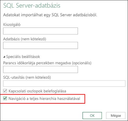Az Excel Power BI továbbfejlesztett relációsadatbázis-csatlakozói