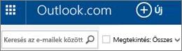 Az Outlook.com menüsora