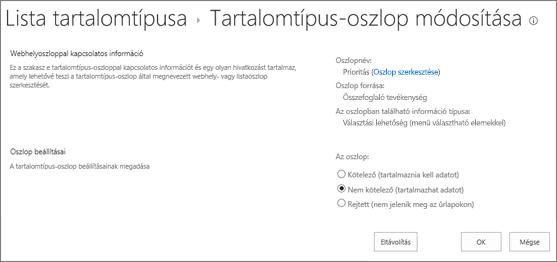 Webhelytartalom-típus módosítása lap