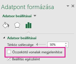 Az Adatpont formázása munkaablak a bejelölt Összekötő vonalak megjelenítése jelölőnégyzettel az Office2016-ban