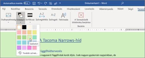 Word-dokumentum zöld háttérrel és megnyitott lapszínválasztóval