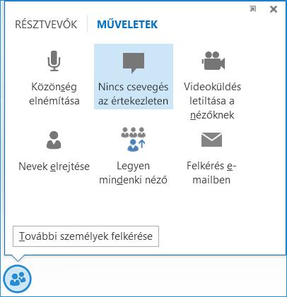 Képernyőkép: a Nincs csevegés az értekezleten ikon