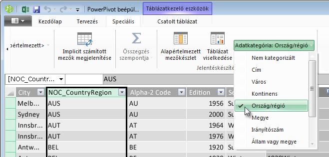 Adatkategóriák a PowerPivot bővítményben