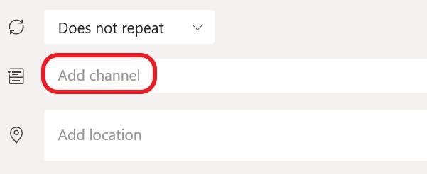 Csatorna hozzáadása egy Teams-értekezlethez.