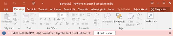 Az Office licencének hiányát magyarázó konkrét hibaüzenet