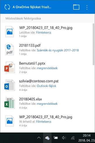 Módosítások feldolgozására vonatkozó képernyő a OneDrive-ban