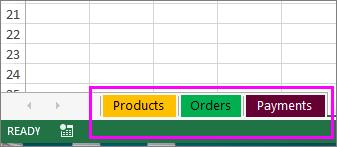 Munkafüzet különböző színű munkalapfülekkel