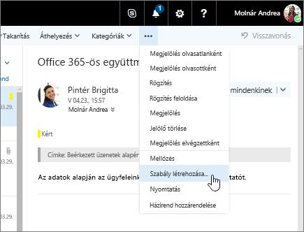 Képernyőkép egy e-mailről, amelyben a További parancsok > Szabály létrehozása beállítás van kiválasztva