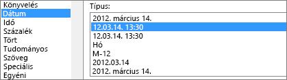 Cellák formázása párbeszédpanel, dátum parancs, 3/14/12 1:30 PM típus