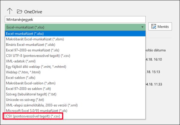 Mentse az Excel-fájlt CSV-fájlként.