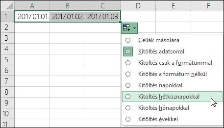 A kitöltőjel segítségével egymás után következő dátumok listájának létrehozása