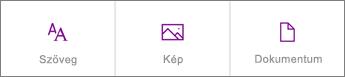 Képernyőkép az új hozzáadható tartalomtípusokról