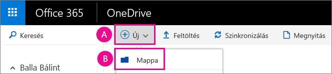 Új mappa létrehozása a OneDrive vállalati verzióban.