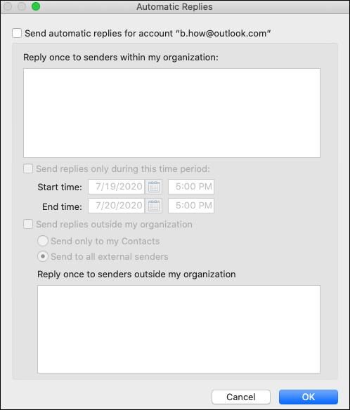 Az automatikus válasz menü a Mac Outlookban.