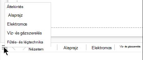 A lista gombot választva megtekintheti és kiválaszthatja az aktuális rajzfájl lapjainak teljes listáját.