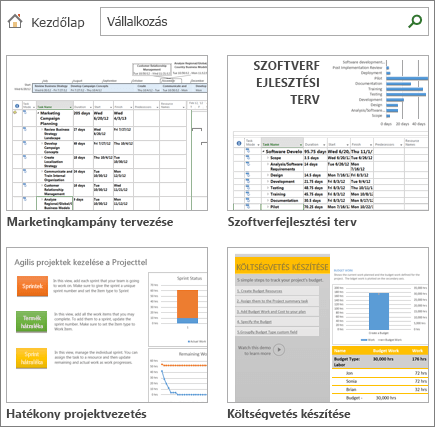 Képernyőkép projekttervsablonokról az Üzleti kategóriában
