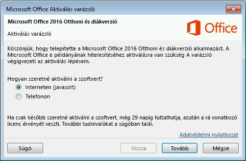 Képernyőkép a Microsoft Office Aktiválás varázslóról