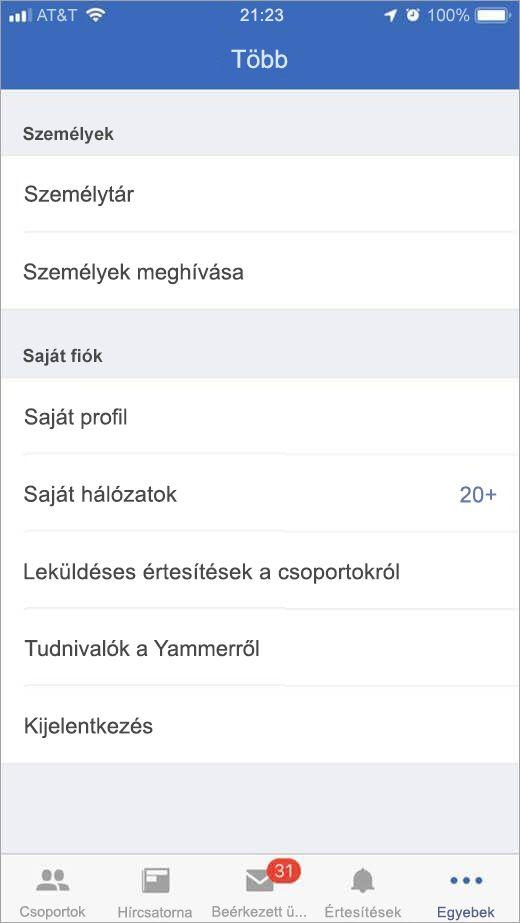 iOS Yammer további beállításokat tartalmazó lap