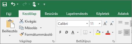 A színes témájú menüszalag megjelenítése az Excel 2016-ban