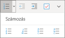 A számozott listák gombjai a Windows 10 OneNote Kezdőlap menüszalagján