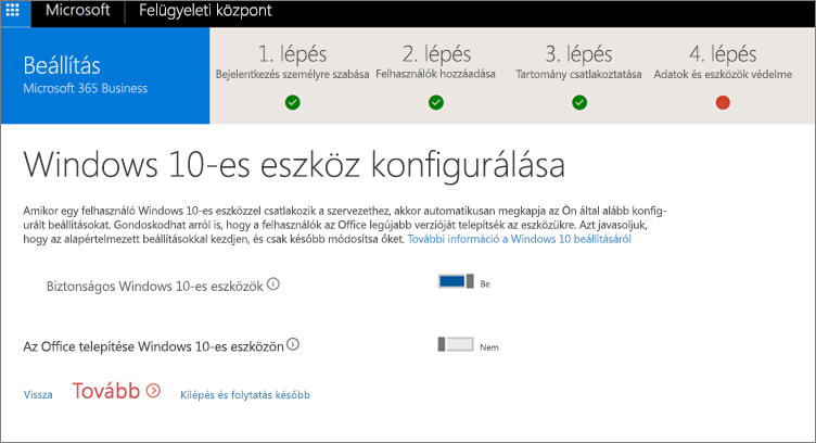 Képernyőkép a Windows 10-es eszközök előkészítése lapról