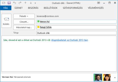 az ellenőrzött hivatkozásszöveg egy e-mailben