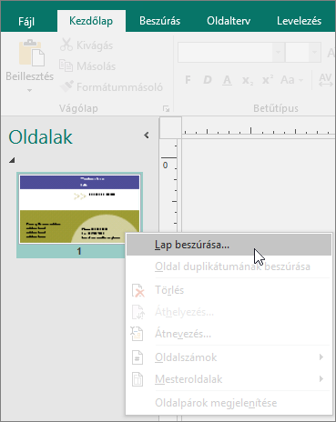 Oldal beszúrása a Publisher Oldalak navigációs ablakában.