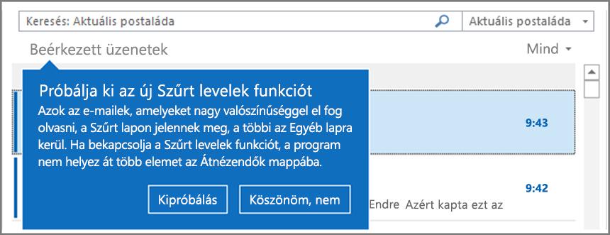 Kép arról, hogy hogyan néz ki a Szűrt levelek mappa a kibocsátása után az Outlook ismételt megnyitását követően