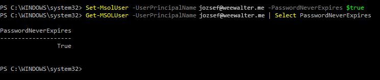 Ezen a képen azok a parancsok láthatók, amelyekkel beállítható, hogy a jelszó soha ne járjon le, majd ellenőrizhető a beállítás.