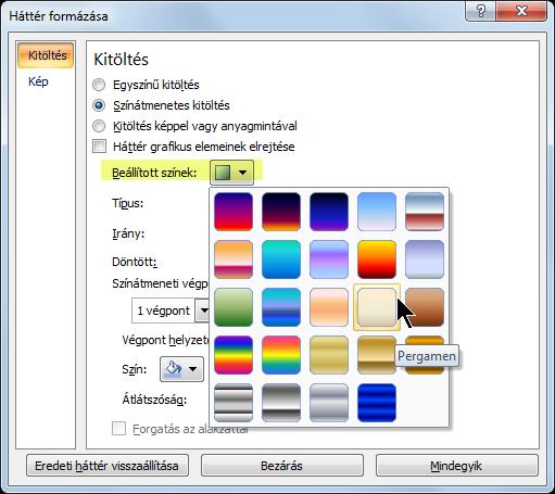 Ha előre beállított színátmenetet szeretne használni, válassza a Beállított színek elemet, majd a kívánt beállítást.