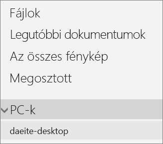A OneDrive portál bal oldali navigációs ablaka, amelyen a PC kibontott menüje látható