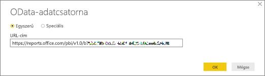 OData-adatcsatorna URL-címe a Power BI Desktop alkalmazáshoz