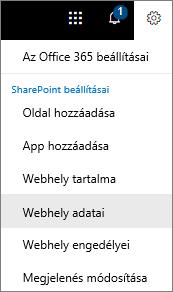 Beállítások menü webhely adatai kijelölve