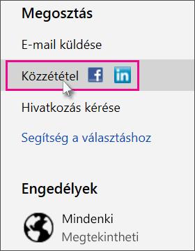A közzétételi közösségi hálózat megadása
