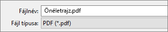 Válassza a PDF lehetőséget a Mentés másként mezőben.