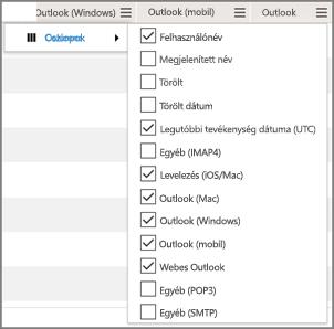 Képernyőfelvétel: az Office 365 E-mail-appok használata jelentése – oszlopok kiválasztása