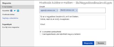 Bemutató hivatkozásának küldése e-mailben