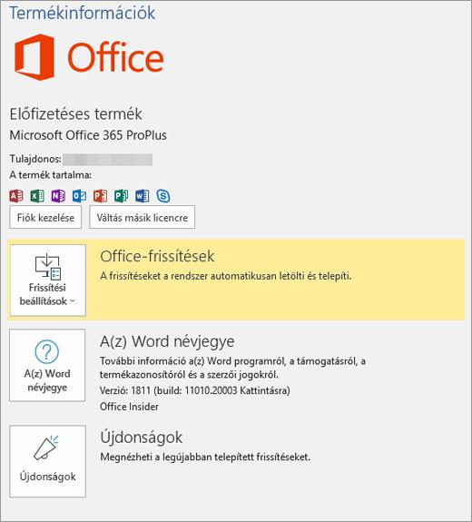 Bemutatja az Office 365 Backstage nézetét