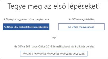"""A """"Kezdés"""" képernyő, amely jelzi, hogy az eszközön megtalálható az Office 365 próbaverziója"""