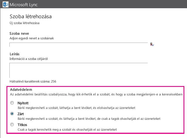 A Csevegőszoba létrehozása ablak képernyőképe a tagsági beállítások kiemelésével
