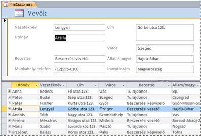 Osztott űrlap egy Access asztali adatbázisban