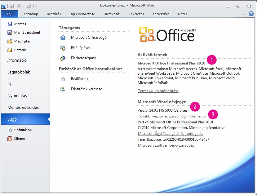 A Word 2010 Fájl > Súgó parancsára kattintva megjelenített termékinformációk