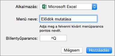 Példa a Mac Office 2016 egyéni billentyűparancsaira
