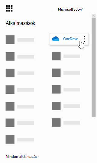 Az Office 365 appindítója a kiemelt OneDrive appal