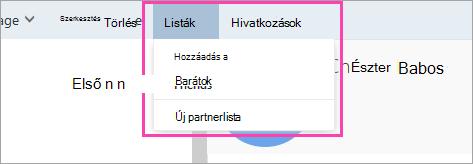 Képernyőkép a Listák gombról