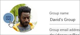 Képernyőkép a csoport fényképének módosítása gombról
