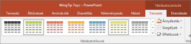 táblázatstílusok a PowerPointban