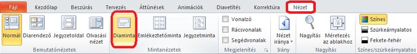 A nézet lap a PowerPoint programban, ahol válthat diaminta nézetben
