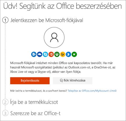 A setup.office.com oldal látható, amelyen beváltható a termékkulcs