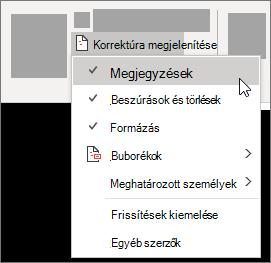 A Korrektúra-lista beállításainak megjelenítése